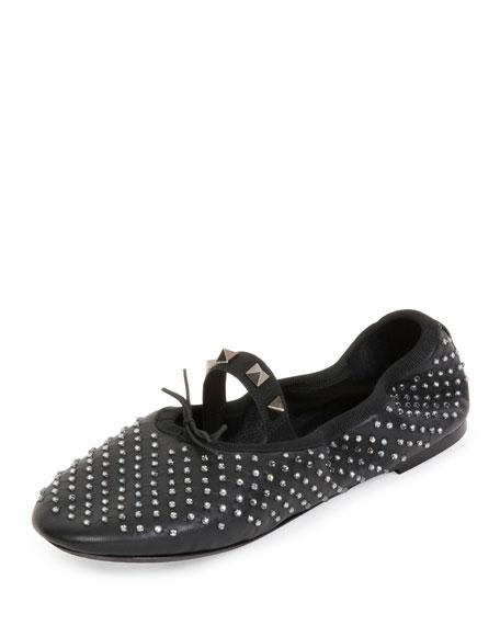 Valentino Rockstud Crystal Leather Ballerina Flat, Black/Black
