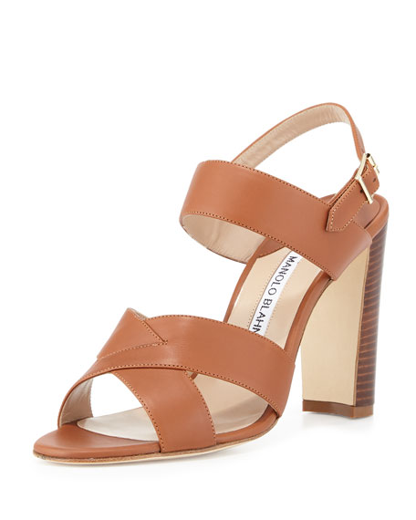 Manolo Blahnik Gorham Leather Slingback Sandal, Luggage