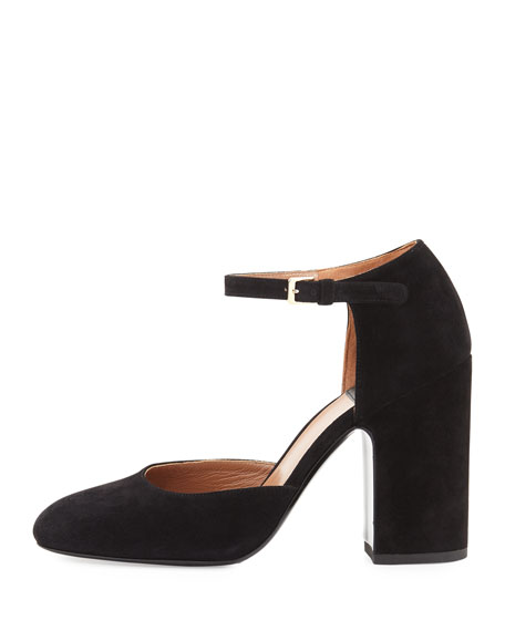Mindy Suede d'Orsay Ankle-Wrap Pump, Black