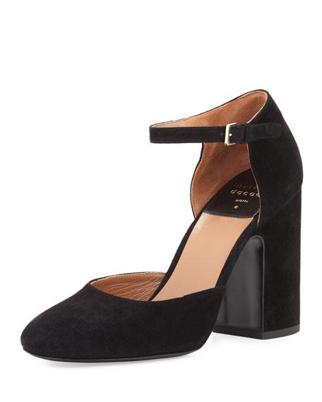 Mindy Suede d'Orsay Ankle-Wrap Pump, Black