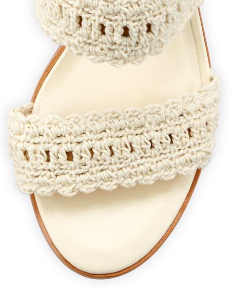 Moxie Crochet Tassel Sandals, Ivory