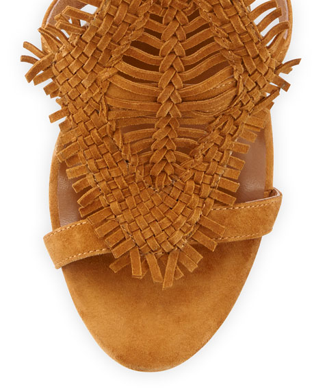 Ady Woven Ankle-Wrap 100mm Sandals, Mahogany