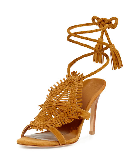 Joie Ady Woven Ankle-Wrap 100mm Sandal, Mahogany