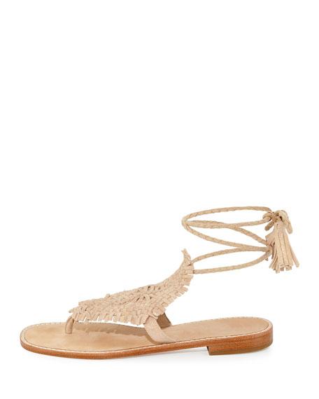 Joie Kacia Woven Flat Ankle Wrap Sandal Warm Gold