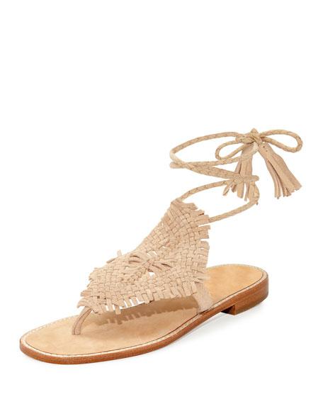Joie Kacia Woven Flat Ankle-Wrap Sandal, Warm Gold
