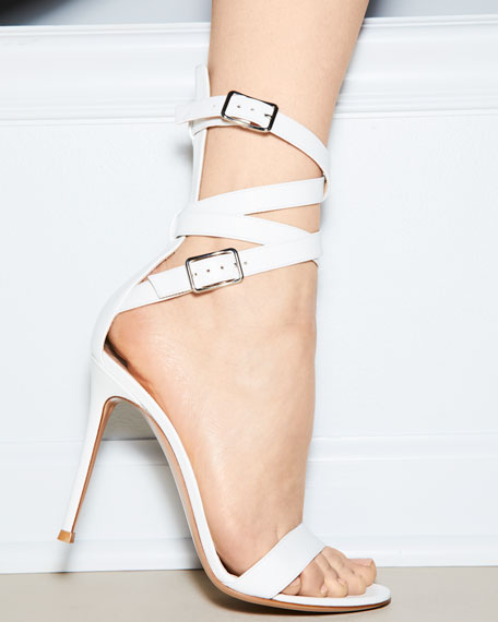 Leather Ankle-Wrap Sandals, White