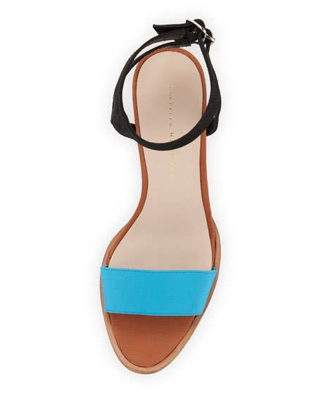 Sylvia Colorblock City Sandal, Turquoise