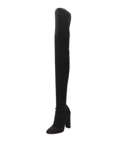 Knit Over-The-Knee 105mm Boot, Black