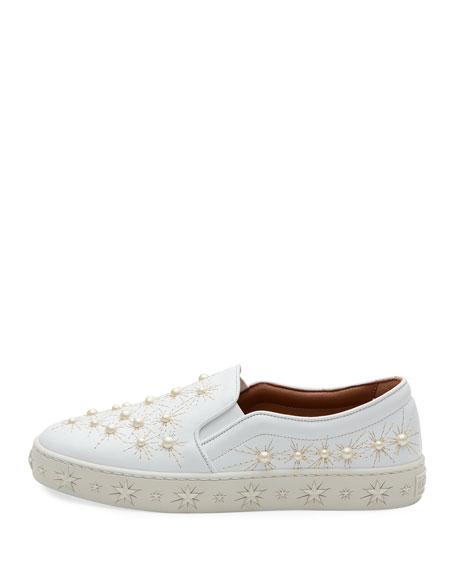 Cosmic Pearlescent Slip-On Skate Sneaker, White
