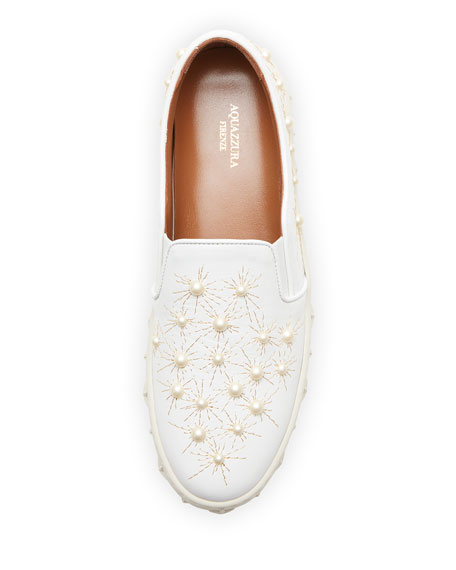 Cosmic Pearlescent Slip-On Skate Sneakers, White