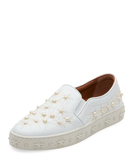 Aquazzura Cosmic Pearlescent Slip-On Skate Sneaker, White