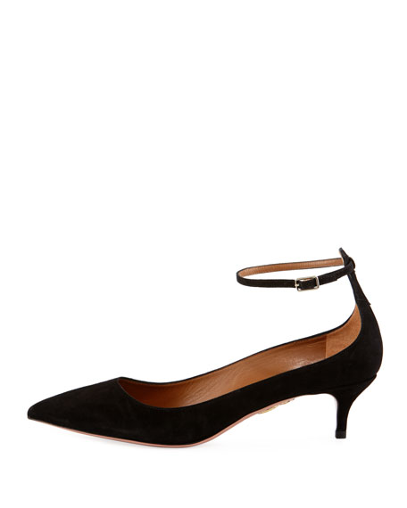 Kisha 45mm Suede Ankle-Wrap Pump, Black