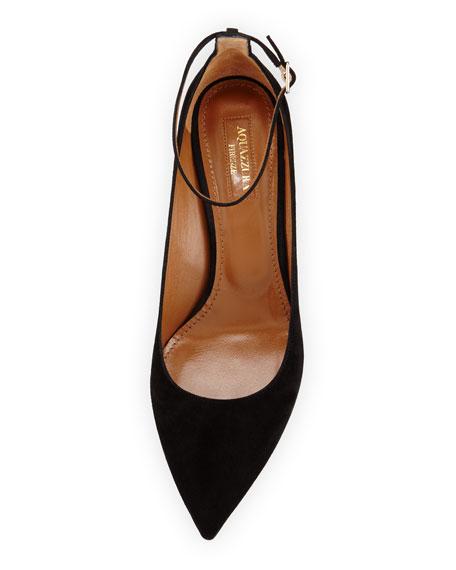 Kisha 45mm Suede Ankle-Wrap Pump, Black