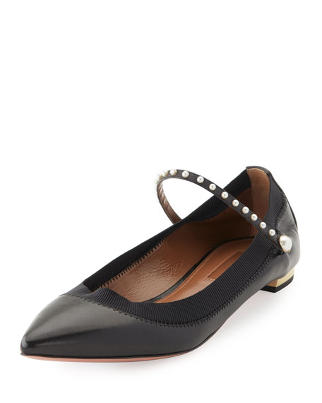 Aquazzura Nolita Pearly-Studded Mary Jane Flat, Black