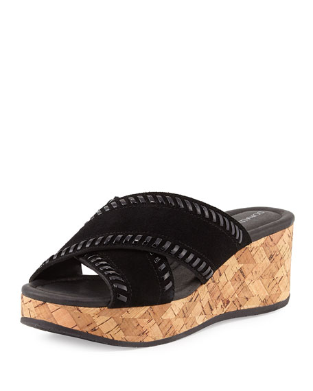 Donald J Pliner Savee Whipstitch Cork Wedge Sandal