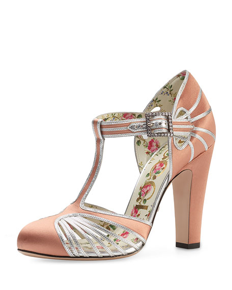 Gucci Mariska T-Strap 110mm Pump, Peach/Silver