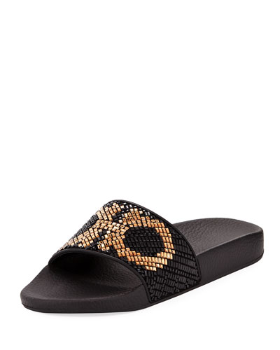 Groove Crystal Flat Slide Sandal