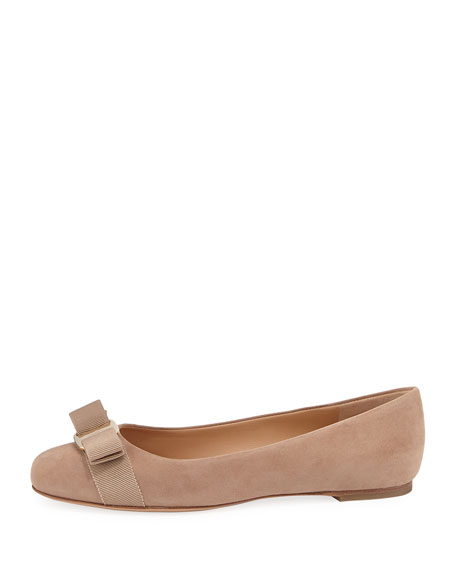 Suede Bow Ballet Flats, Nude