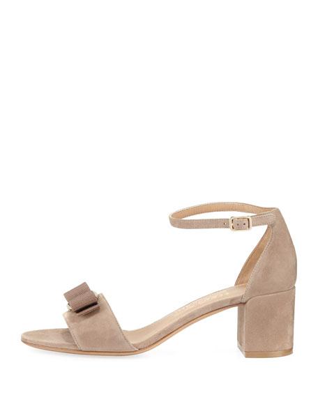 Gavina Bow Suede City Sandal, Nude
