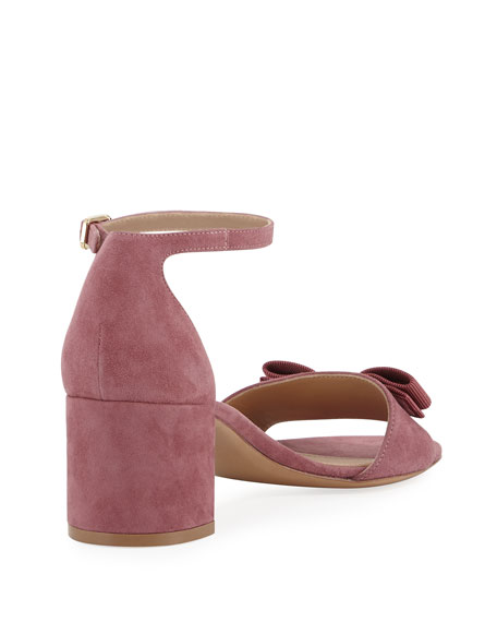 Gavina Bow Suede Sandal, Pink