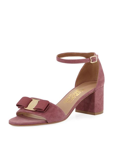 Salvatore Ferragamo Bow Suede Sandal, Pink