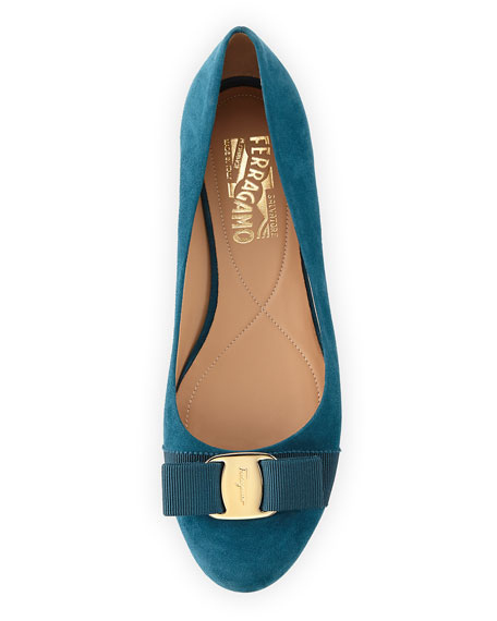 Bow Suede Ballerina Flat, Teal