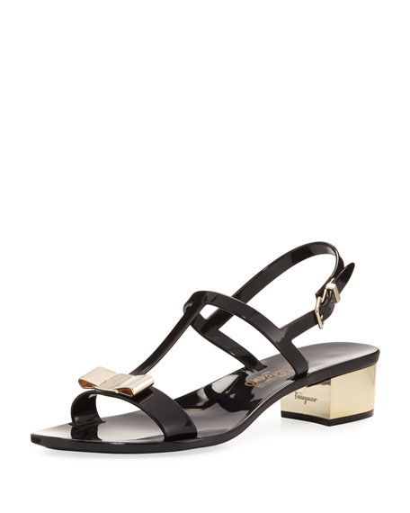 Salvatore Ferragamo Jelly Flat Sandal, Black