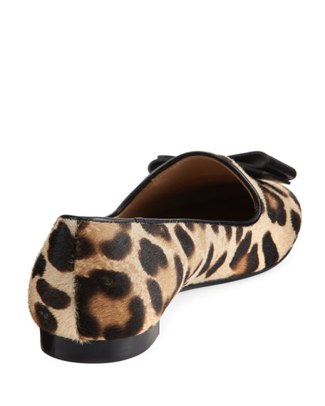 Bow Calf-Hair Loafer, Leopard