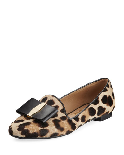 Bow Calf-Hair Loafer, Leopard