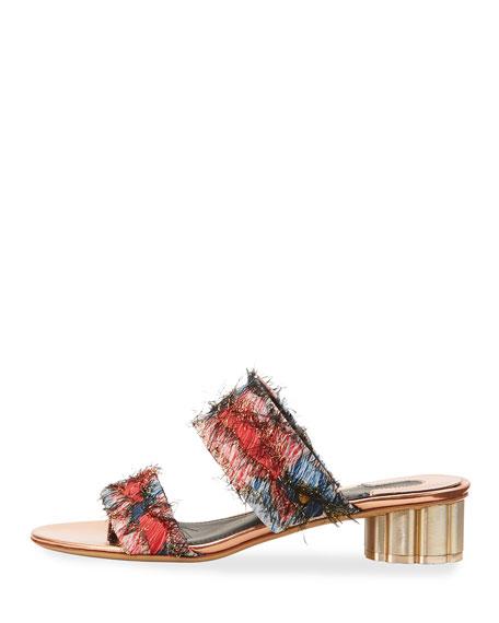 Embellished Jacquard Two-Band Mule Sandal