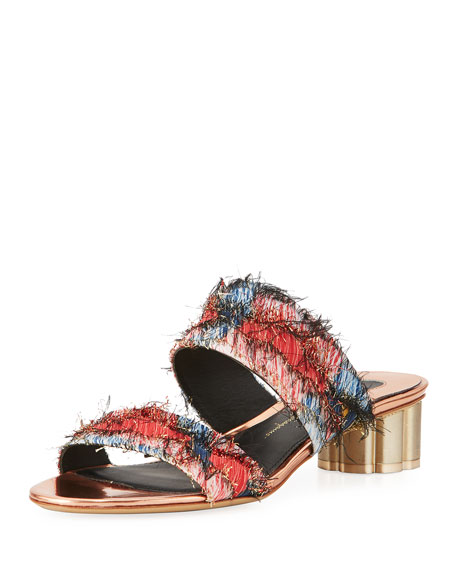 Salvatore Ferragamo Embellished Jacquard Two-Band Mule Sandal