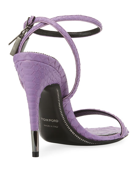 Python Padlock Ankle-Wrap 105mm Sandals, Lilac