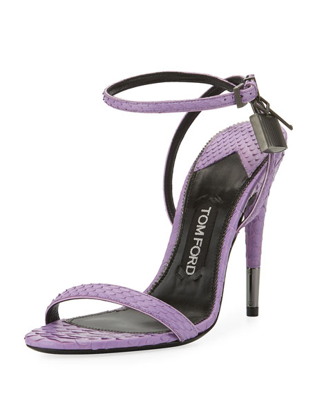 TOM FORD Python Padlock Ankle-Wrap 105mm Sandals, Lilac