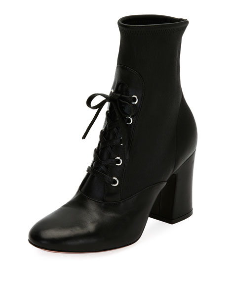 Gianvito Rossi Stretch Napa Lace-Up Bootie, Black