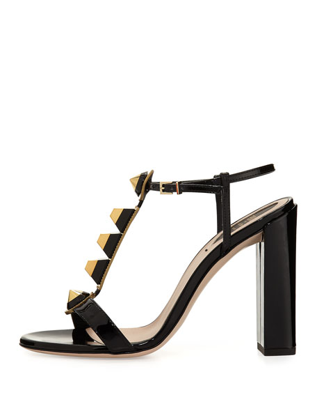 Gold Edition Studded Sandal, Black