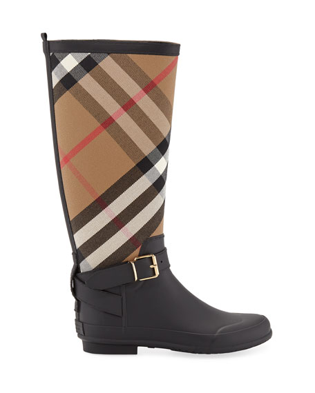 Simeon Check-Print Rain Boot, Black