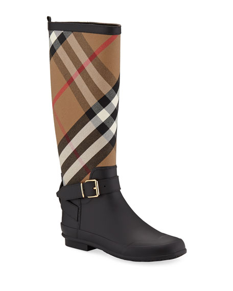 Burberry Simeon Check-Print Rain Boot, Black