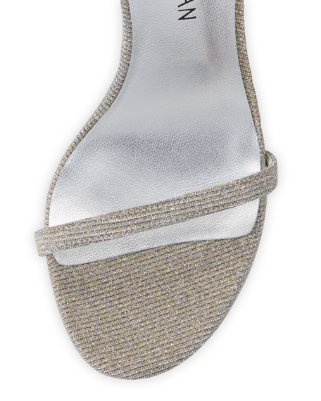 Nudistsong Shimmery Ankle-Wrap Sandal, Silver