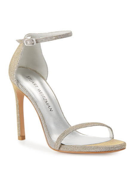 Stuart Weitzman Nudistsong Shimmery Ankle-Wrap Sandal, Silver
