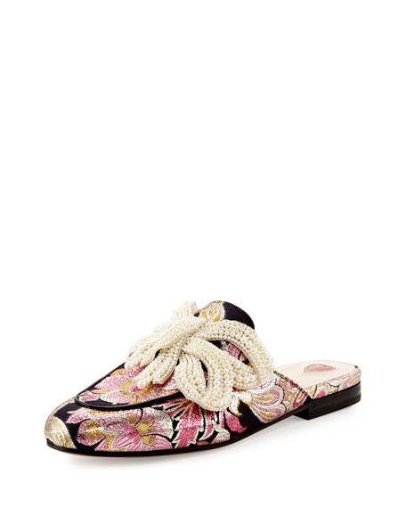 Gucci Princetown Bow Brocade Mule, Pink