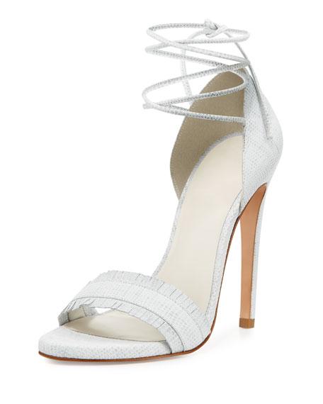 Stuart Weitzman Nudewrap Ankle-Tie Sandal, White