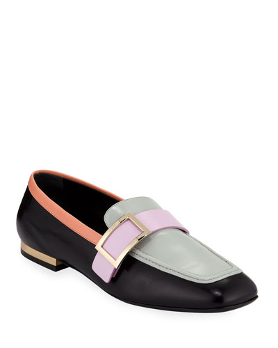 Colorblock Leather Buckle Loafers