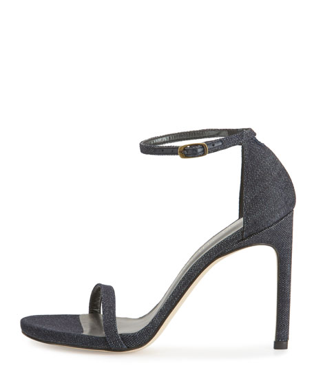 Nudistsong Denim Ankle-Wrap Sandal, Navy