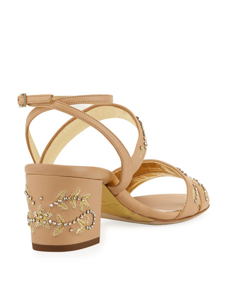 Melody Embellished Leather Sandal, Beige