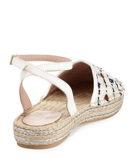 Tina Tweed Embellished Espadrille Sandal, White