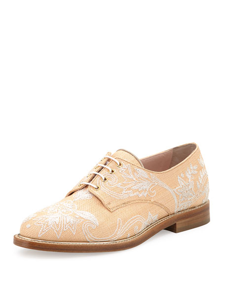 Oscar de la Renta Tilda Raffia Embroidered Oxford,