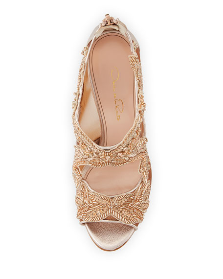 Ambria Beaded Lace 100mm Sandal, Pink