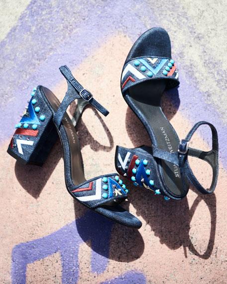 Both Embellished City Sandal, Navy