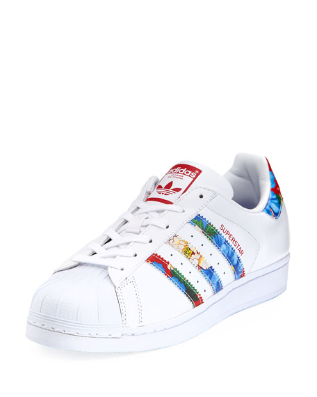 Adidas Superstar Multicolor Stripe Sneaker, White