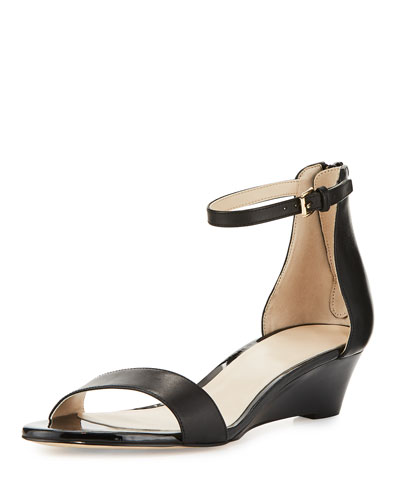 Adderly Grand Leather Low-Wedge Sandal, Black
